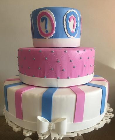 bolo cha revelação azul e rosa