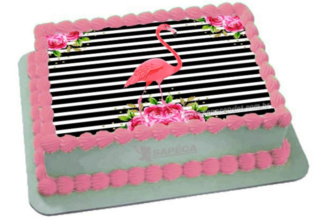 bolo flamingo papel arroz