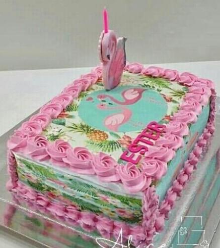 bolo flamingo quadrado