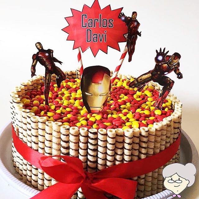 bolo homem de ferro redondo