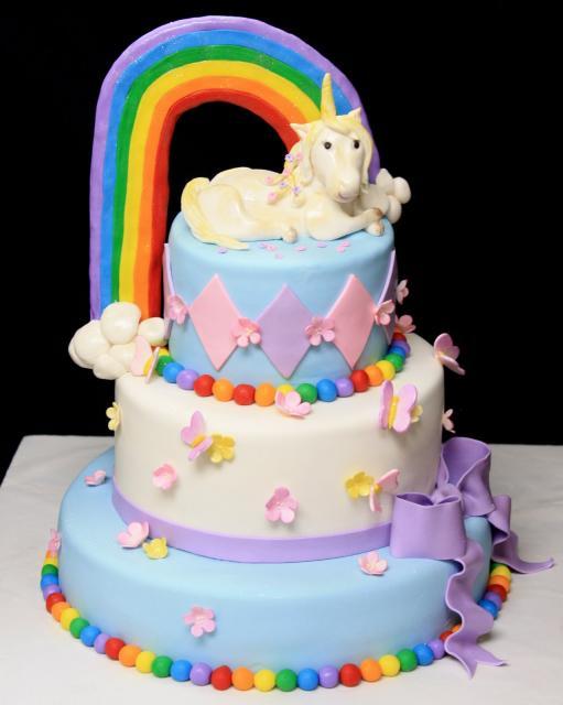 bolo unicornio chantilly colorido