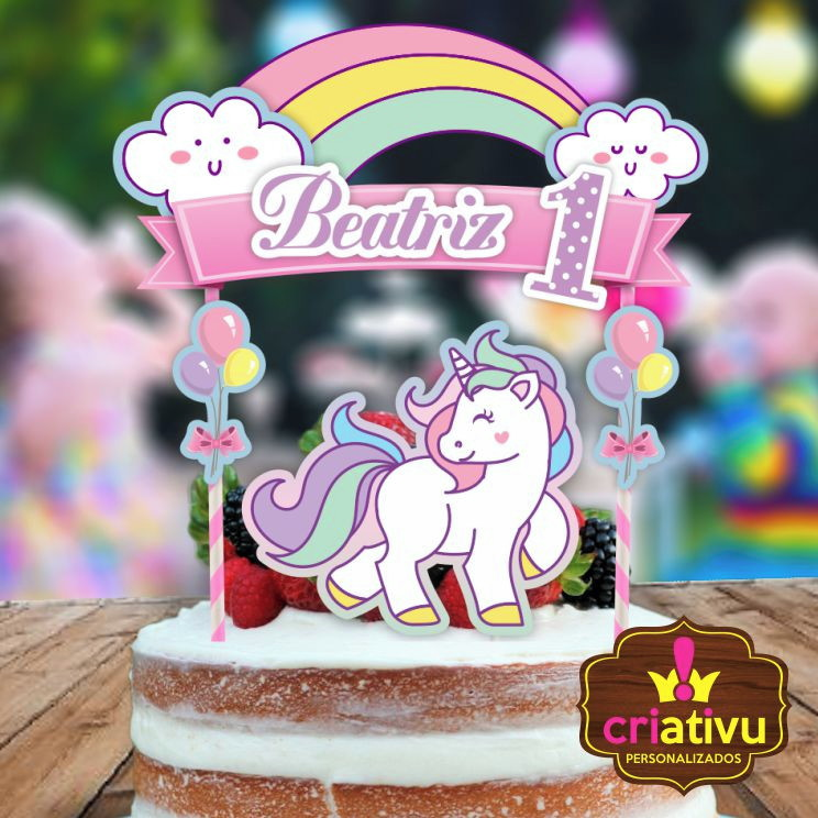 bolo unicornio chantilly com topper