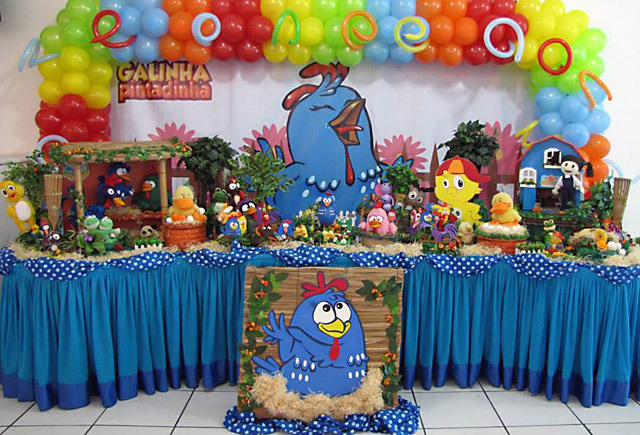 festa galinha pintadinha azul