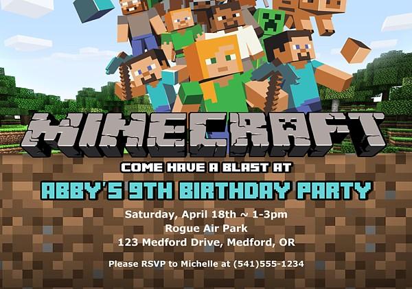 convite festa minecraft