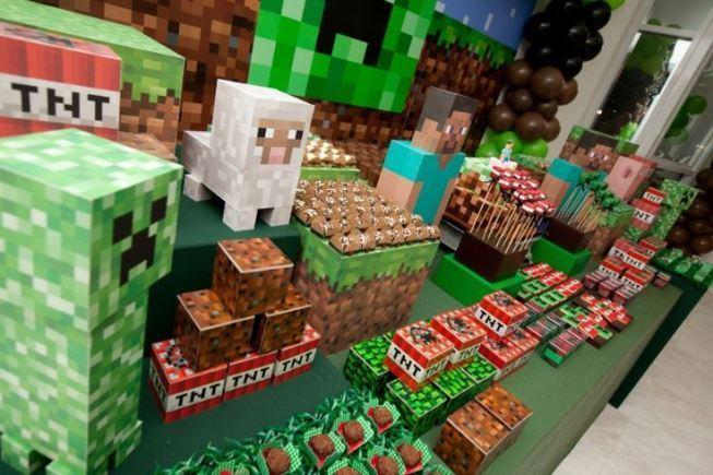 decoração festa minicraft