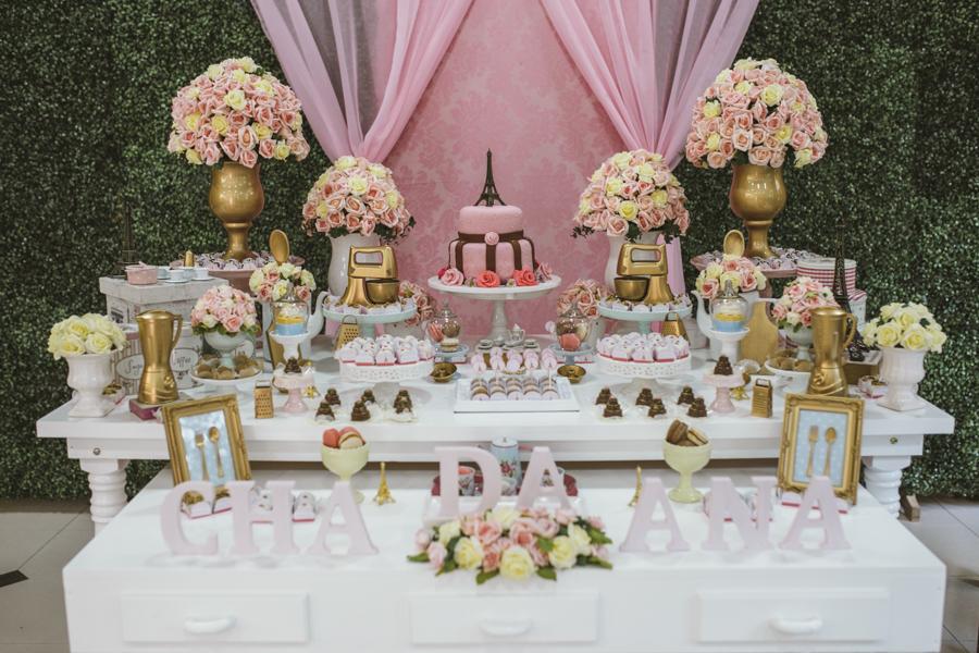festa paris rosa e dourado