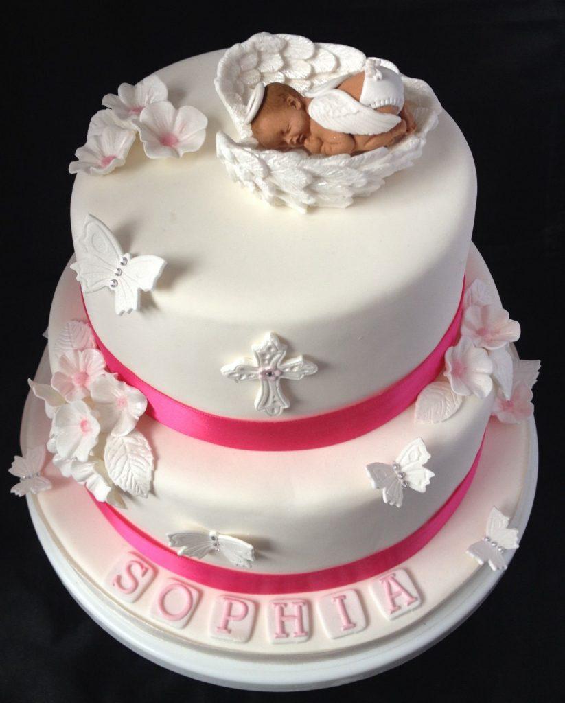 bolo batizado rosa