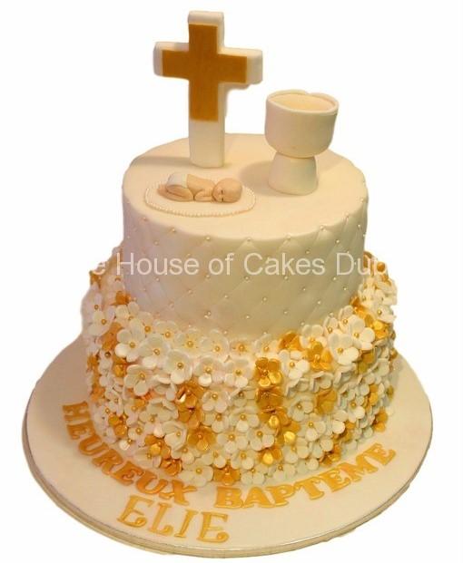 bolo batizado branco com dourado