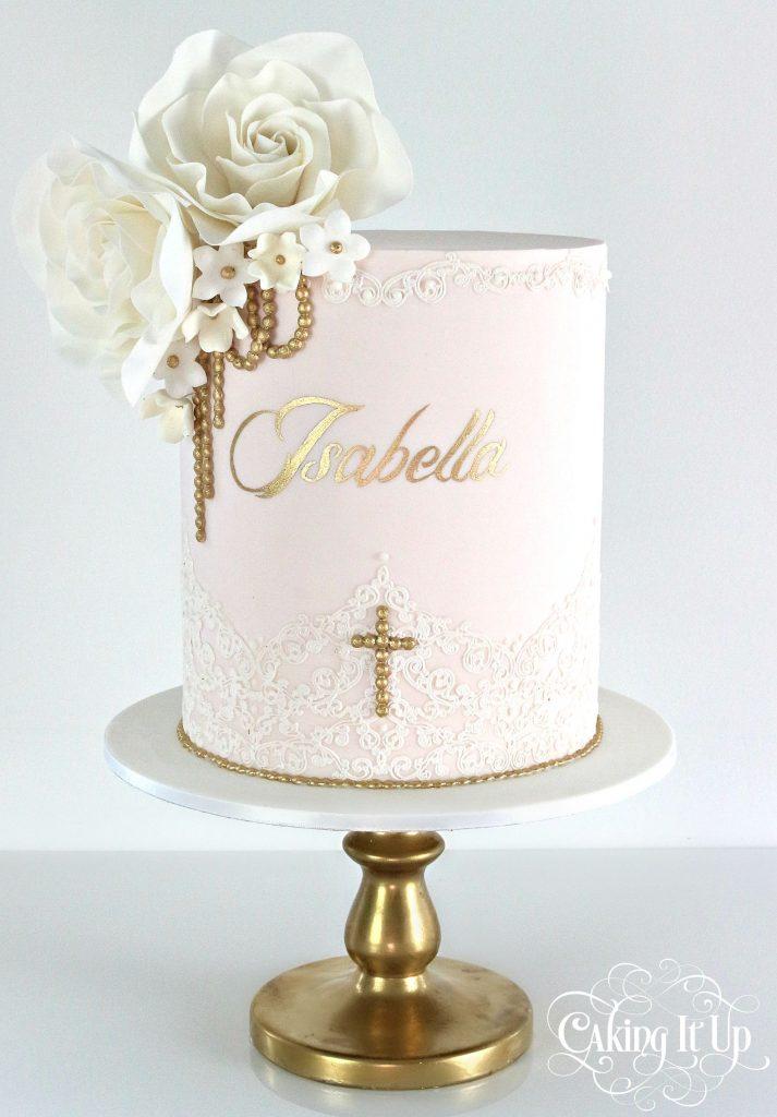 bolo batizado luxo