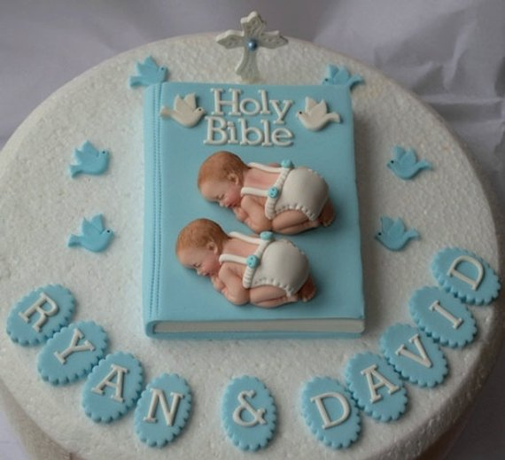 bolo batizado gemeos