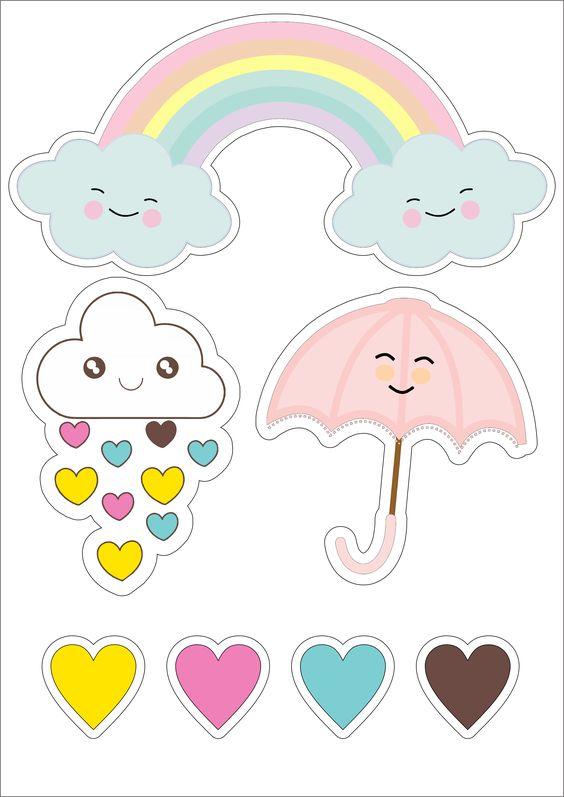 topo e bolo chuva de amor