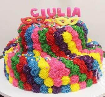 bolo decorado com chantilly tema carnaval