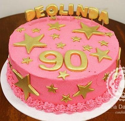 bolo dourado e rosa
