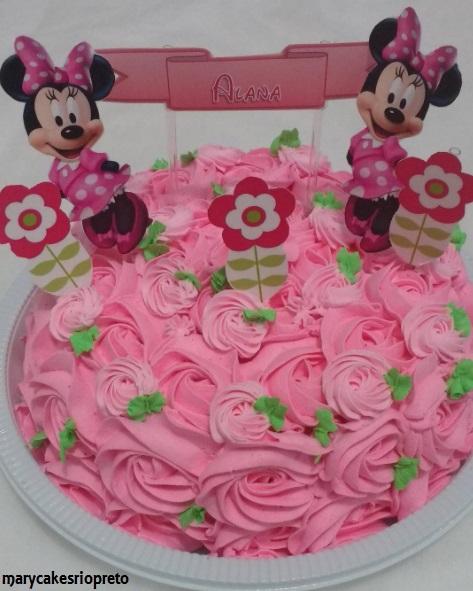 bolo Minnie rosa simples