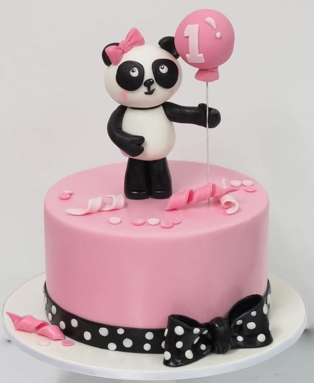 bolo panda rosa