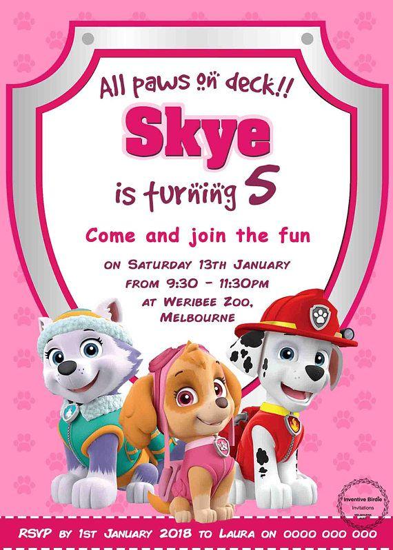 convite patrulha canina skye