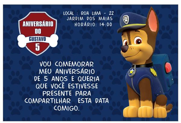 convite patrulha canina masculino