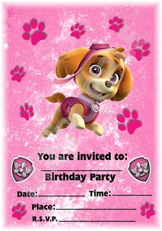 convite patrulha canina rosa