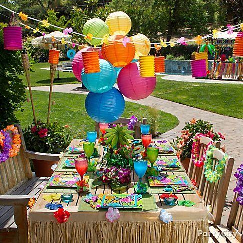 festa havaiana decoração de mesas