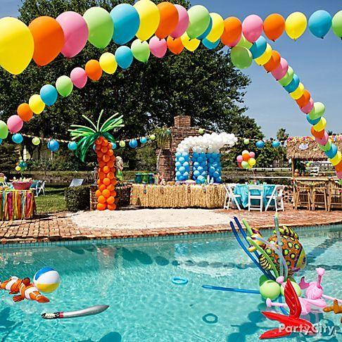 festa havaiana na piscina