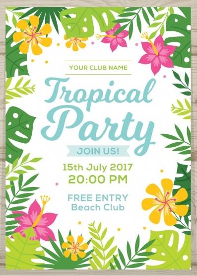 convite de festa tropical