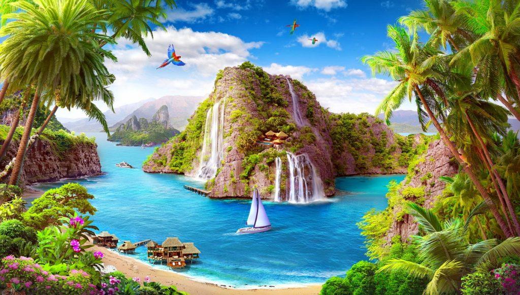 painel para festa tropical