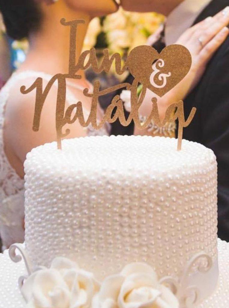 topo de bolo para casamento simples