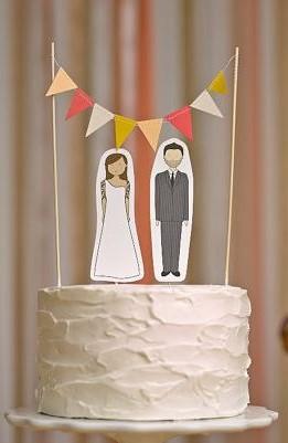 topo de bolo para casamento papel