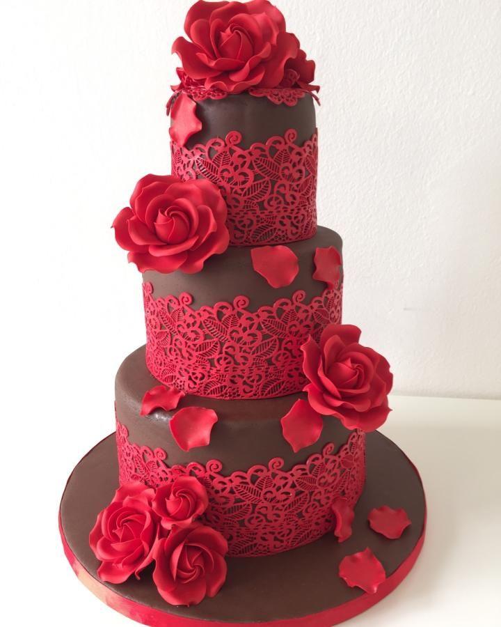 bolo de rosas vermelhas