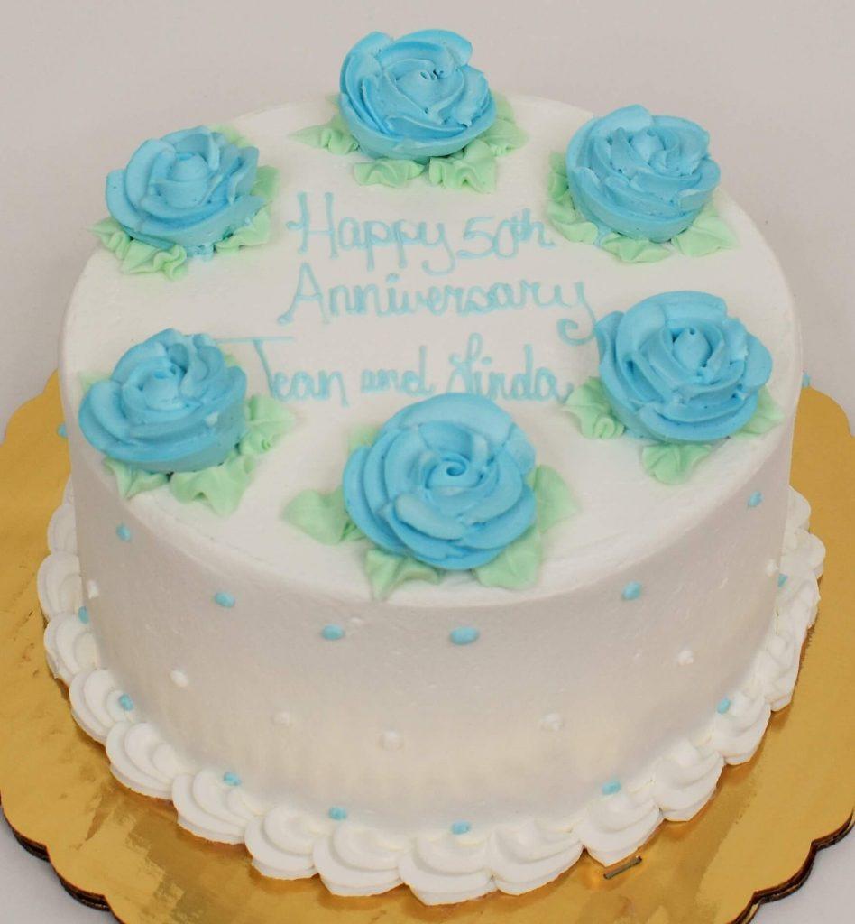 bolo de rosas azul