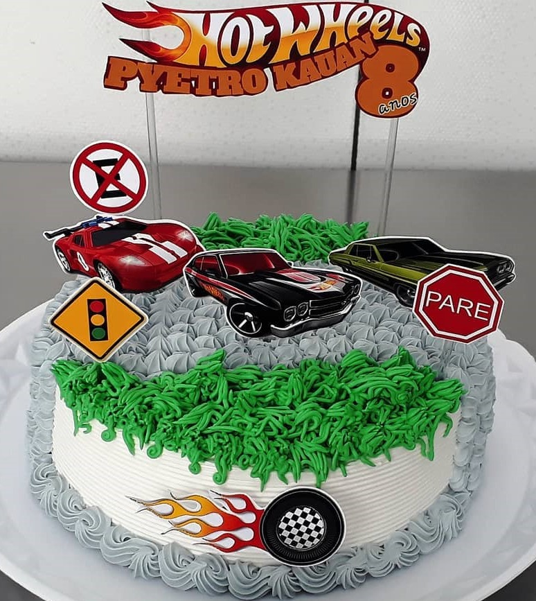 bolo hot wheels com topper