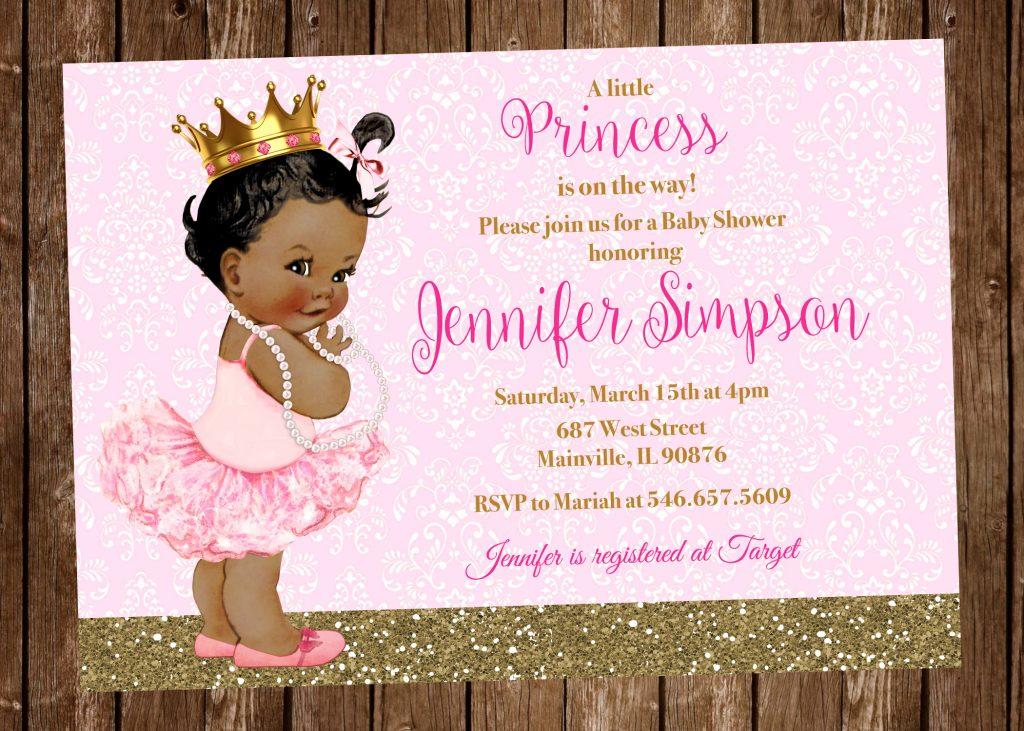 convite chá de fralda princesa