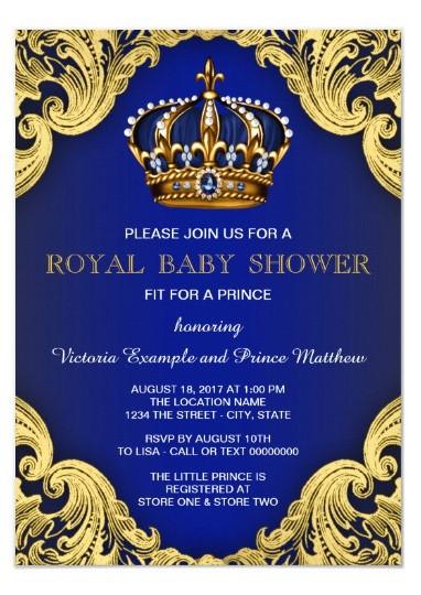 convite chá de fralda príncipe