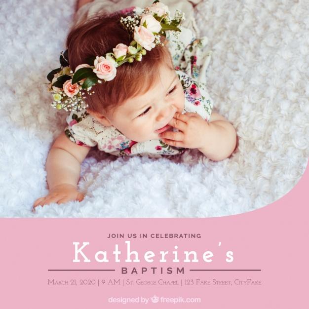 convite de batismo com foto