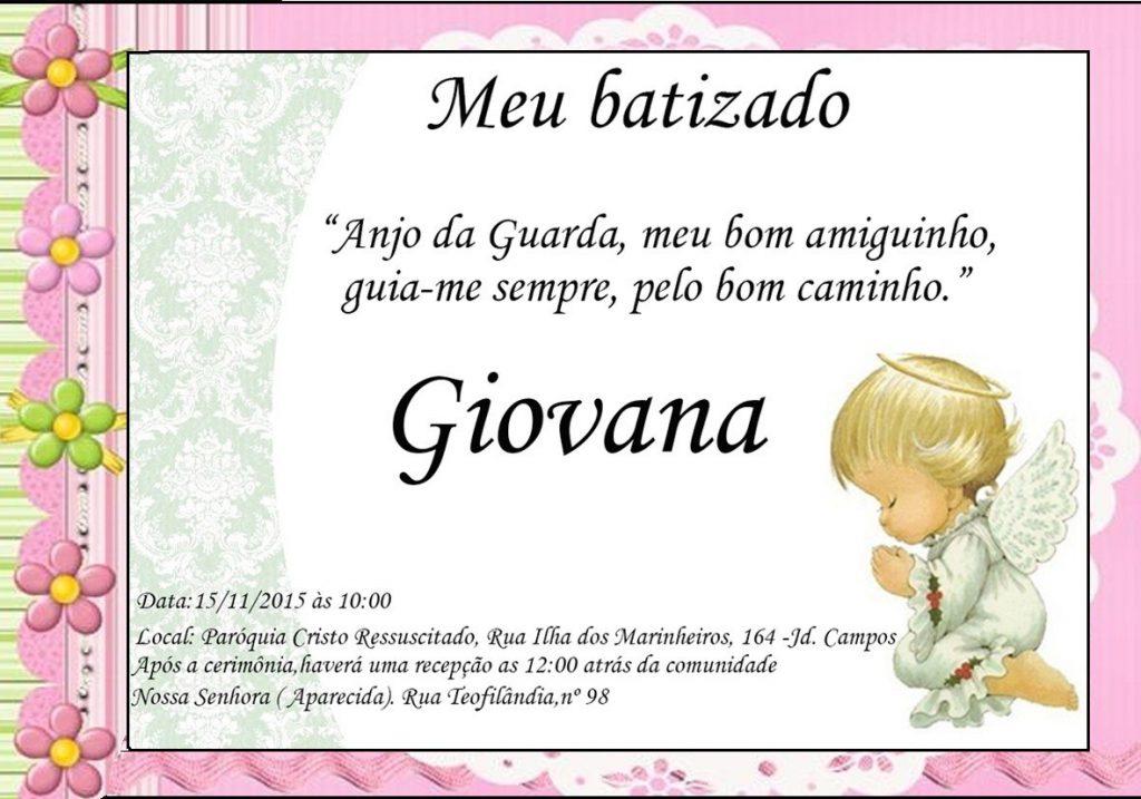 convite de batismo feminino