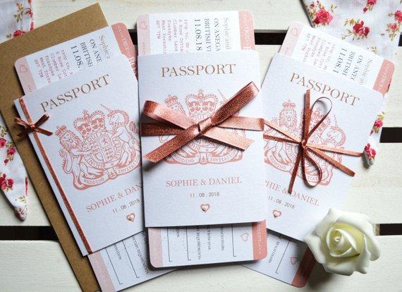 convite de casamento passaporte
