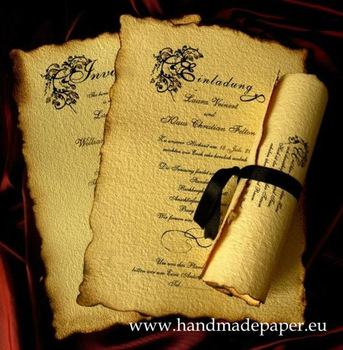 convite de casamento pergaminho