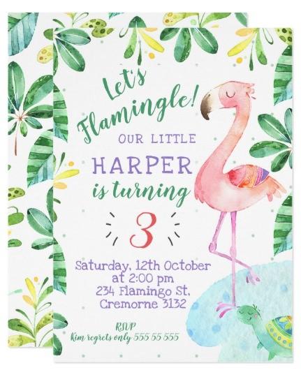 convite flamingo tropical