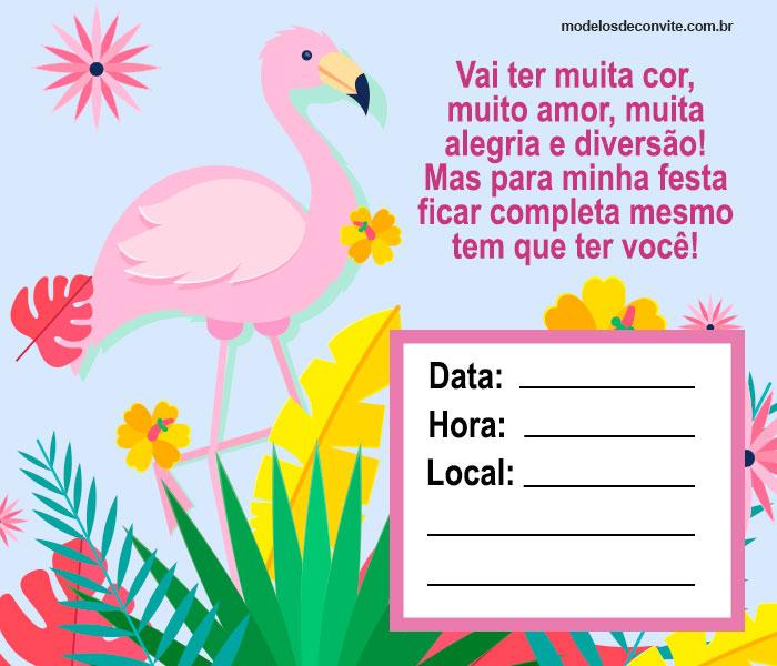 convite flamingo para editar