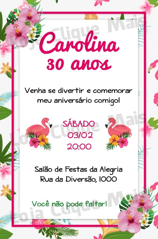 convite flamingo aniversario