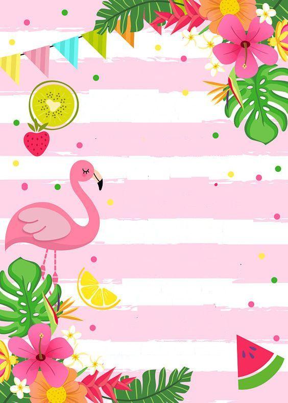 convite de flamingo em branco