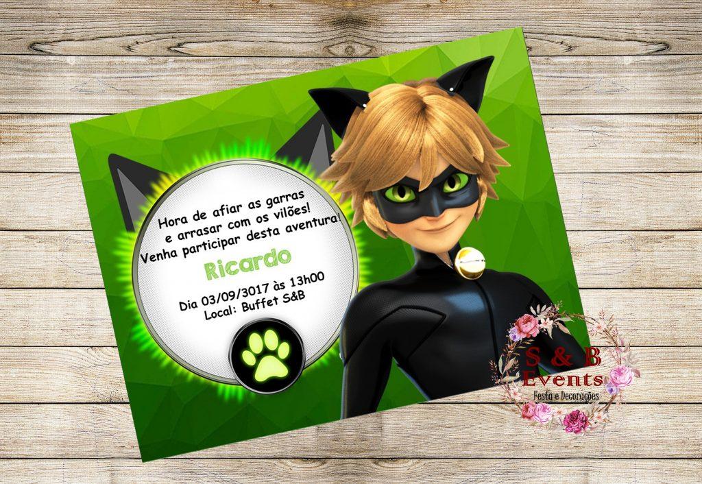 Convite ladybug cat noir