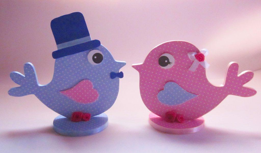 lembrancinha noivado azul e rosa