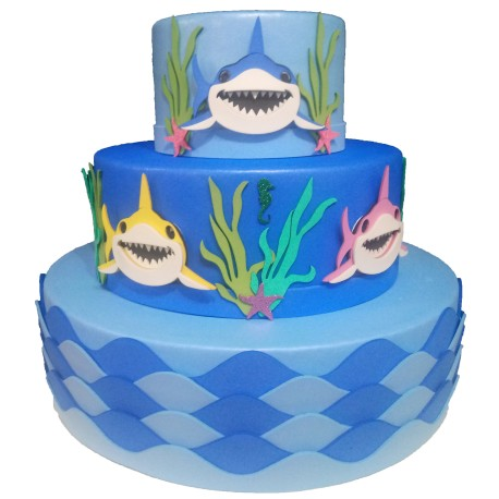 bolo baby shark azul