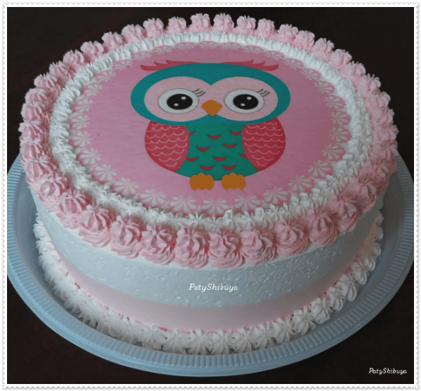 bolo de coruja papel arroz