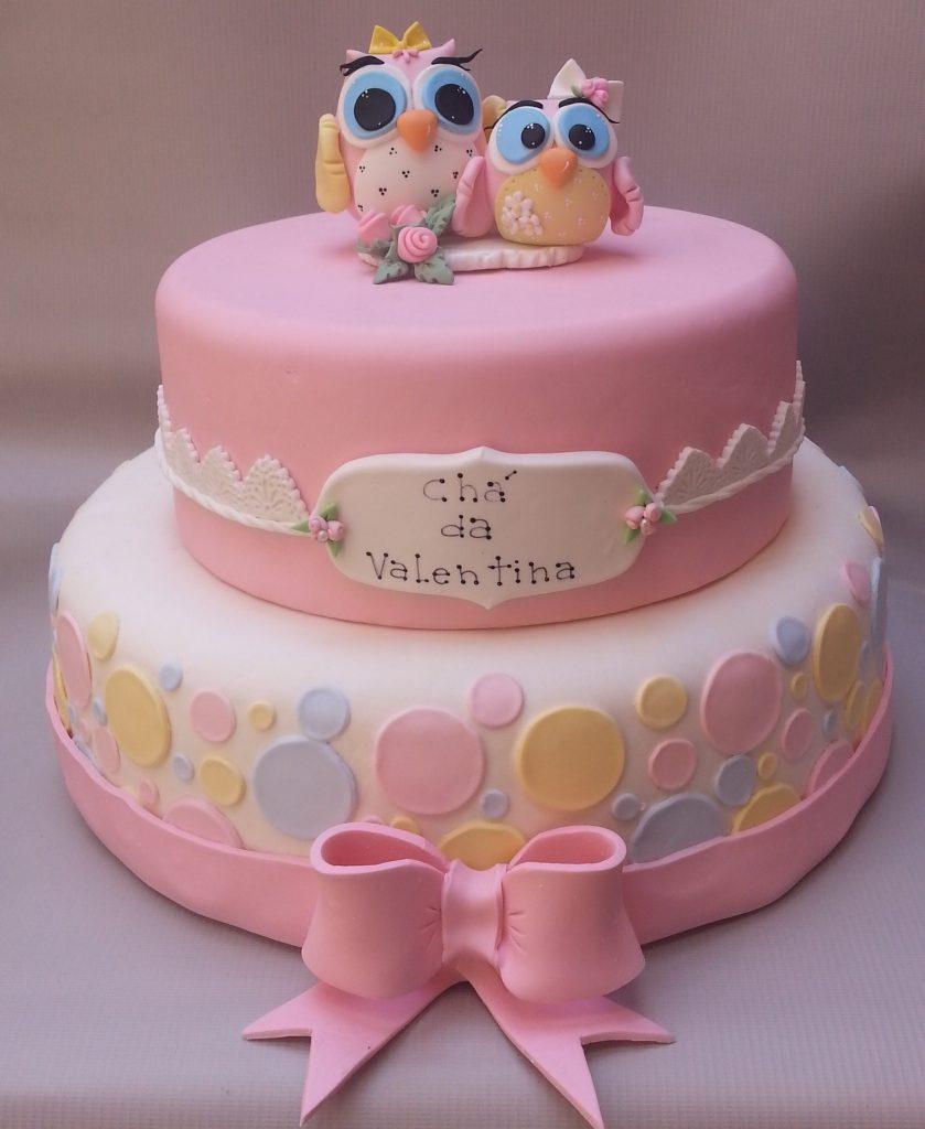 bolo de coruja rosa