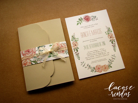 convite rústico floral