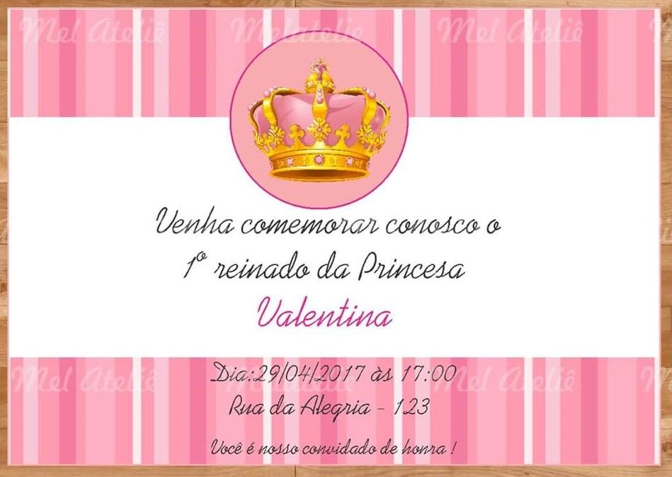 convite realeza rosa