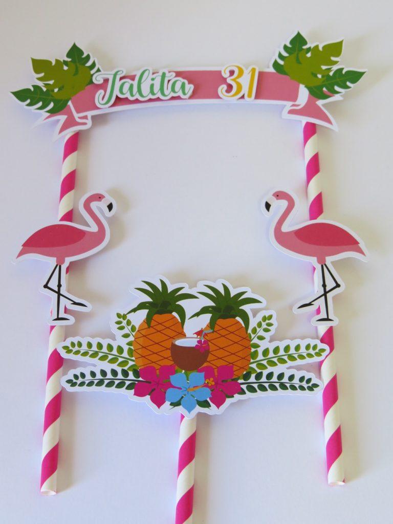 topo de bolo flamingo e abacaxi