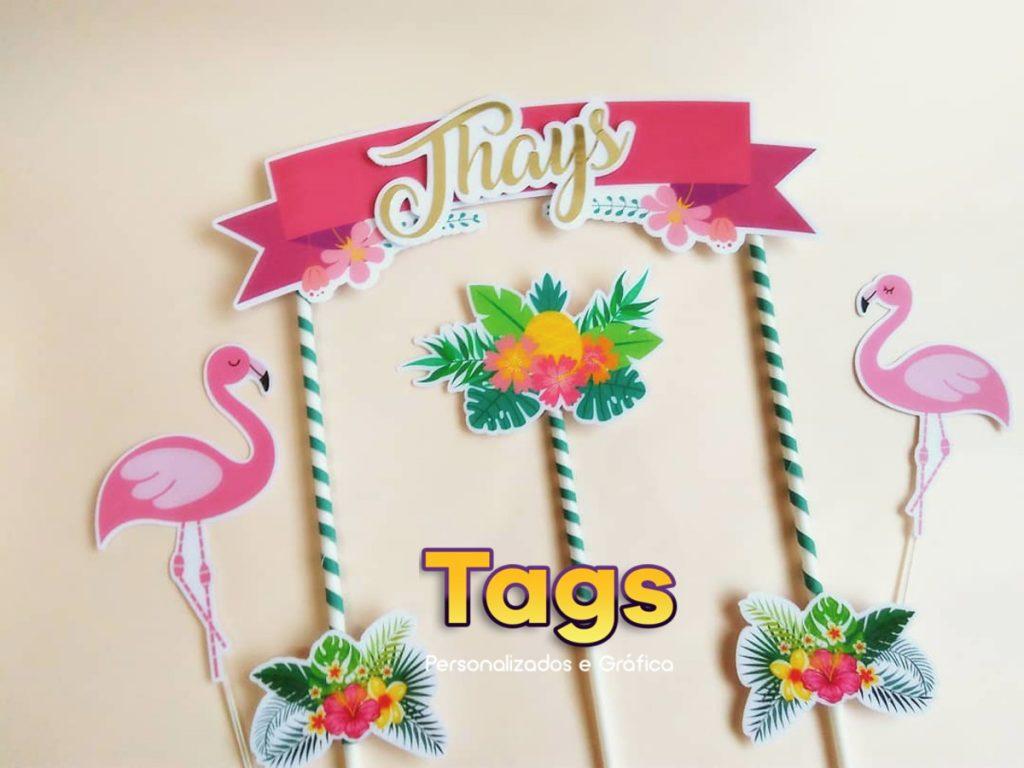 topo de bolo flamingo tropical